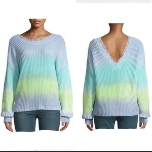 525 America Ombre Fringed V Neck Crewneck Sweater